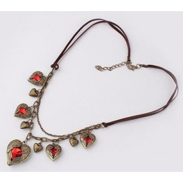 [Pre-order] Angel Wings Red Heart Bronze Pendant Bulky Necklace