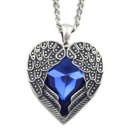 [On Demand] Angel Wings Blue Heart Silver Pendant Necklace