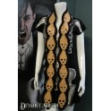 Skull Scarf Tan & Brown with Brown Trim