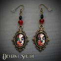 Sugar Skull Bronze Earrings with Blue Facetted Beads