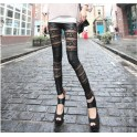 Black PU Leather Lace Leggings