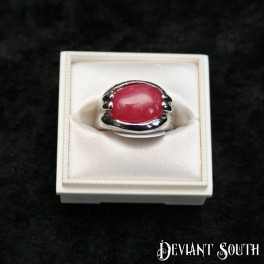 Dark Pink Stone Oval Silver Ring
