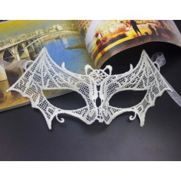 Black Lace Half Face Mask - Bat - Cream