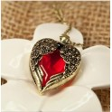 Angel Wings Red Heart Bronze Pendant Necklace