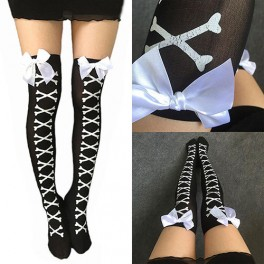 White Bow Crossbones Over The Knee Stockings Pantyhose - One Size Fits Most