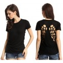 Angel Wings Hollow Out Open Back Black Shirt