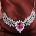 Water-drop-shape Pink Rhinestone Necklace