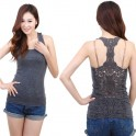 Lace Back Tank Top - Grey - One Size