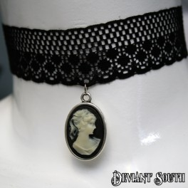Black Lace Choker with Lady Cameo