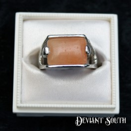 Light Brown Sqaure Silver Ring
