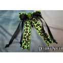 Madame Squelette Cameo Black and Green Leopard Hair Clip