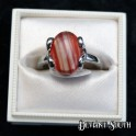 Clear and Red Multi-tone Oval Silver Ring